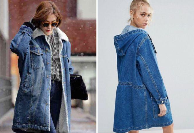 модная женская джинсовая парка
