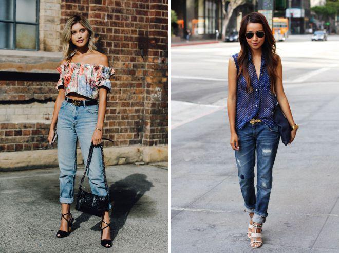 летние джинсы с подворотами