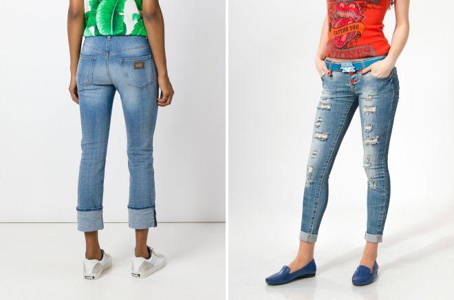 женские джинсы с подворотами