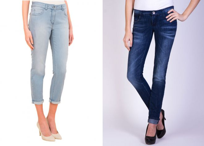 зауженные джинсы с подворотами