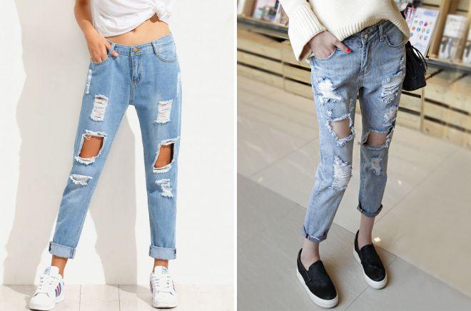 рваные джинсы с подворотами