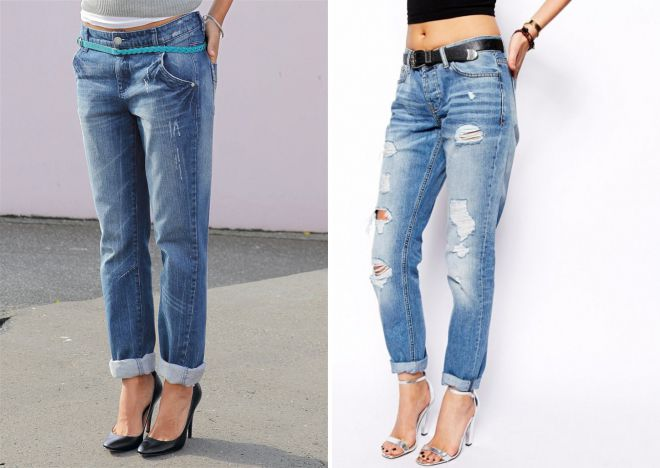 свободные джинсы с подворотами