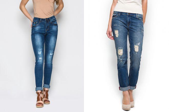 потертые джинсы с подворотами