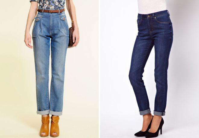 подвернутые джинсы с высокой талией