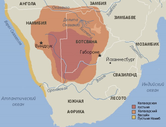 Пустыня Калахари на карте