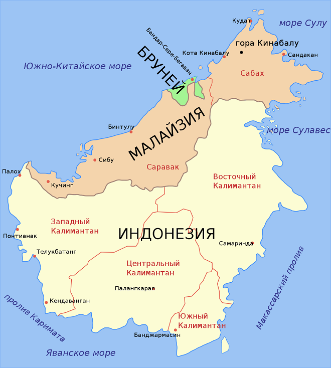 Разделение Борнео между 3 государствами