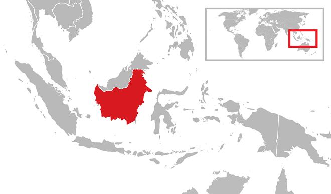 Калимантан на карте мира