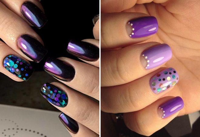 фиолетовый маникюр с камифубуки