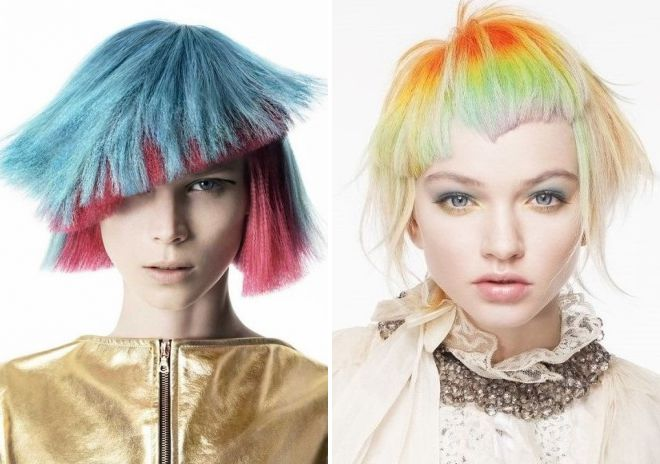 модное окрашивание молодежного каре 2018