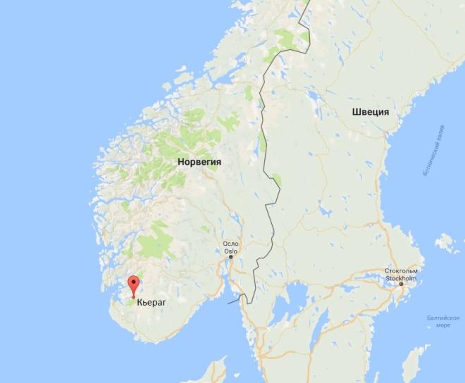 Кьёраг на карте Норвегии