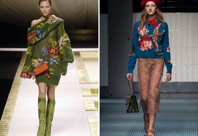 модные вязаные вещи с вышивкой
