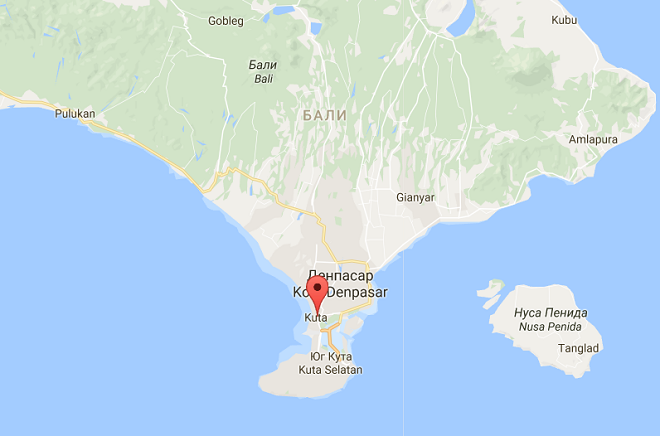 Кута на карте