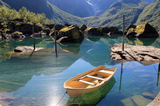 Озеро Bondhus в Норвегии