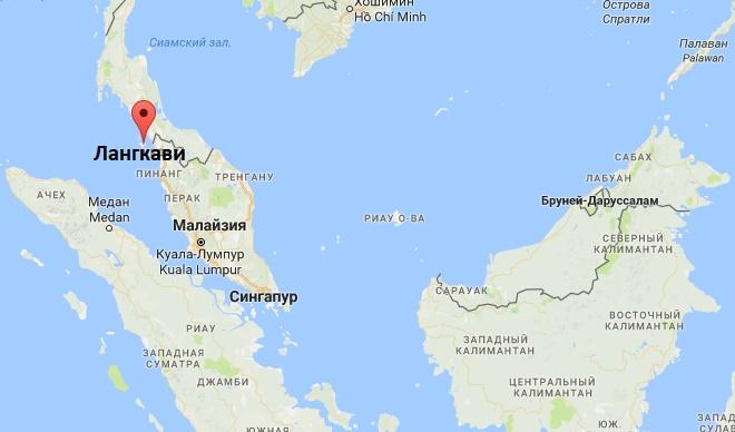 Остров Лангкави на карте Малайзии