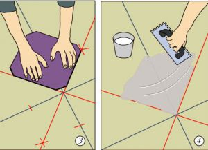 Полагање плочица на поду својим рукама3
