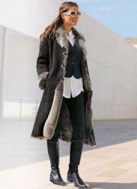 Skórzany płaszcz z owczej skóry z futrem 1