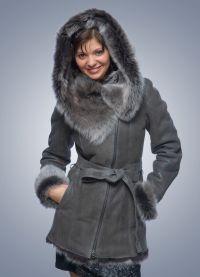 Skórzany płaszcz z owczej skóry z futerkiem 3
