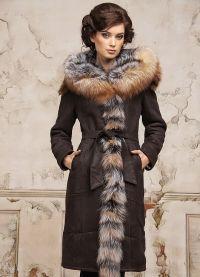 Skórzany płaszcz z owczej skóry z futrem 4