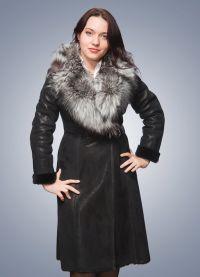 Skórzany płaszcz z owczej skóry z futrem 6