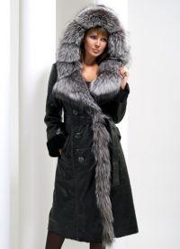 Skórzany płaszcz z owczej skóry z futrem 9