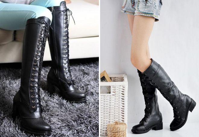 žene visoke crne kožne cipele