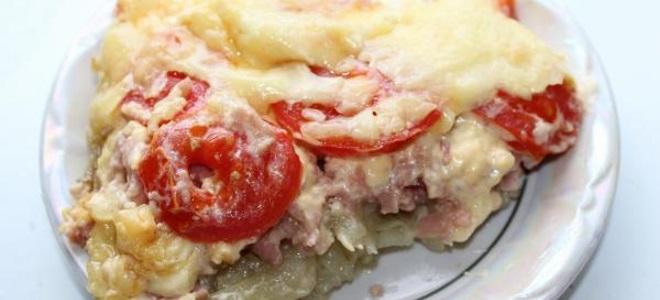 шунка и картофено готвене във фурната