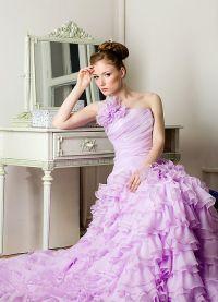 suknia ślubna z liliową wstążką 1