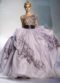 suknia ślubna z liliową wstążką 2