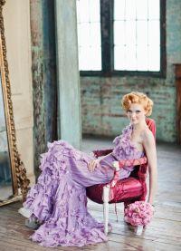 suknia ślubna z liliową wstążką 5