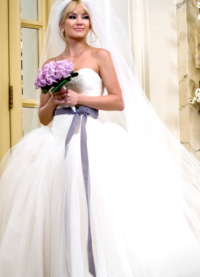 suknia ślubna z liliową wstążką 6