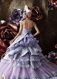 suknia ślubna z liliową wstążką 8