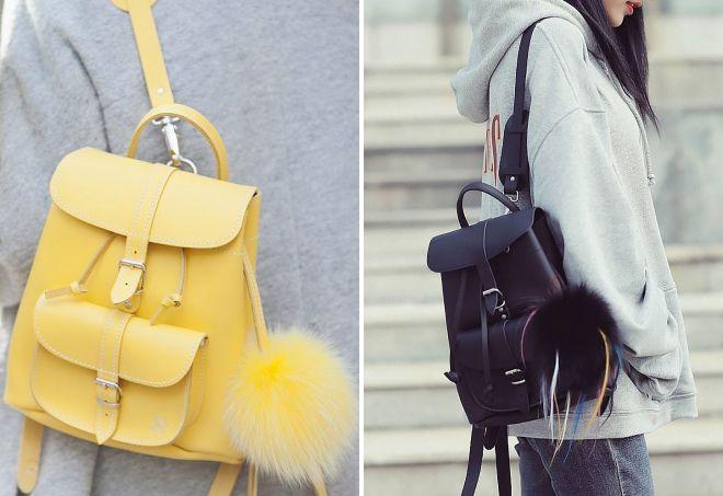 маленький рюкзак с помпоном