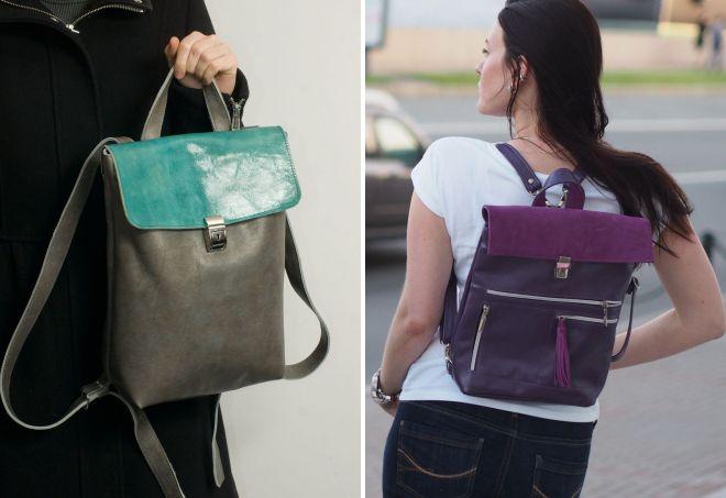 женский маленький кожаный рюкзак