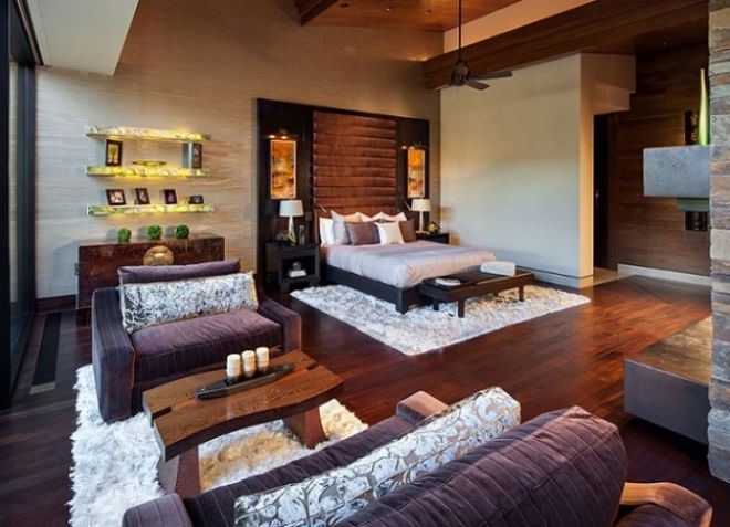 Спальня и гостиная в одной комнате - дизайн