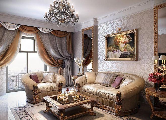 Дизайн гостиных комнат в классическом стиле
