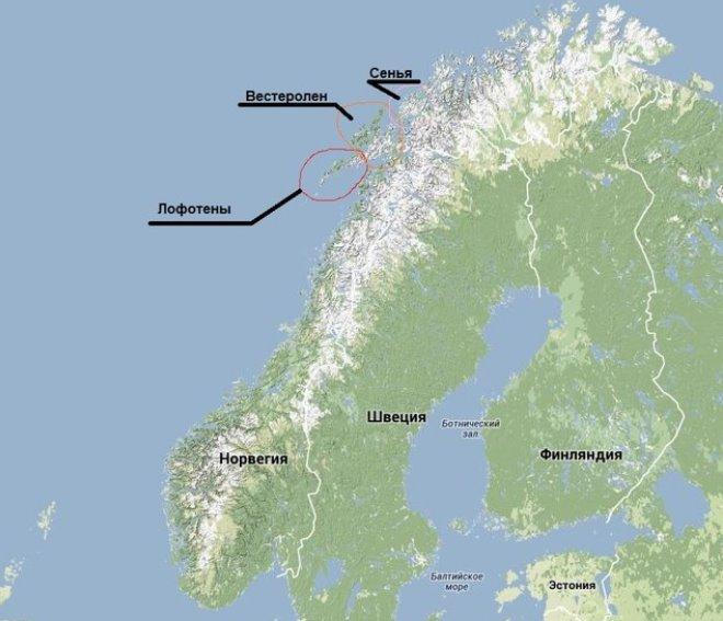 Лофотенские острова на карте страны Норвегия