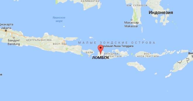 Остров Ломбок на карте Индонезии