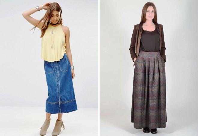 z czym nosić długą spódnicę