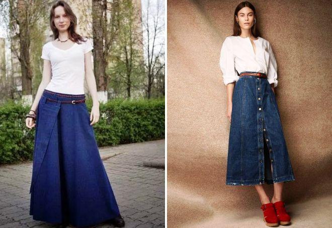 długa spódnica jeansowa