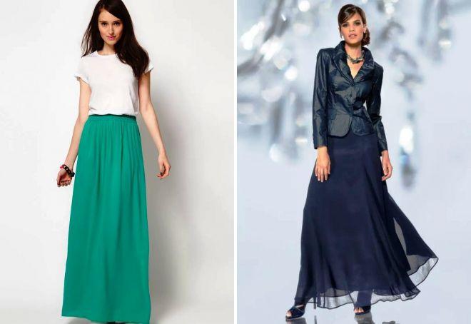 modele długich spódnic