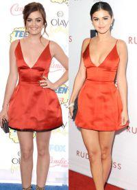 Селена Гомес и Люси Хейл одинаково прекрасны в красном платье