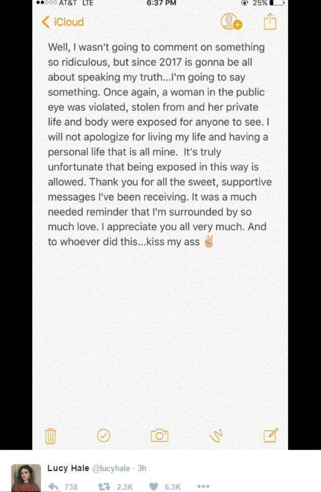 Пост в Люси Хейл в Twitter