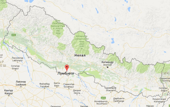 Поселение Лумбини на карте Непала