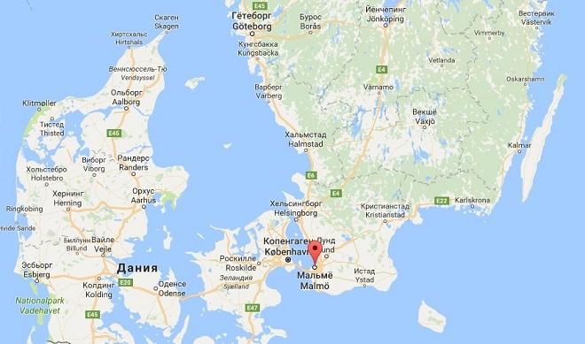 Город Мальме на карте