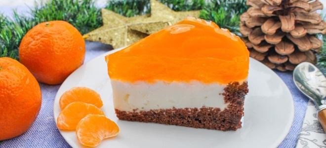 мандарина и желе торта