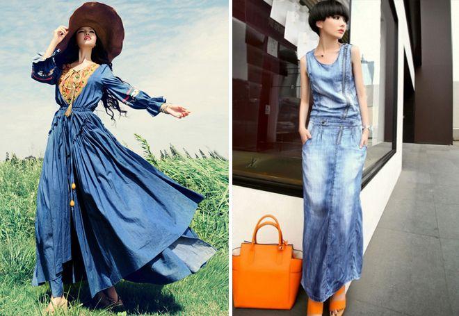 Джинсовое платье макси