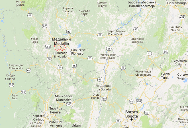 Медельин на карте