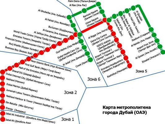 Mapa metra w Dubaju po rosyjsku