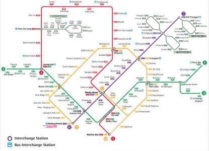 Карта метрополитена в Сингапуре