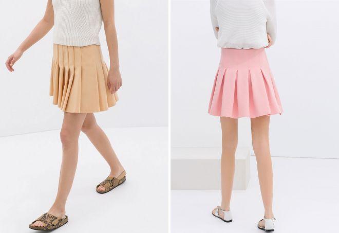 мини юбка в складку